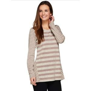 LOGO Lori Goldstein Top Long Sleeve Sweater Stripe